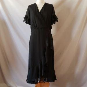 Eci New York Black Ruffle Midi Dress